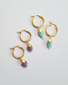 STONE HOOPS Amazonite and amethyst stone hoops...little nuggets of gorgeousness!  You can find these online along with matching stone necklaces. . . My black friday sale starts tonight at midnight! There will be 20% off everything until Tuesday. Check my stories for the code x . . . . #amethyst #amazonite #goldhoops #earrings #goldjewelry #stonejewelry #semiprecious #fashion #style #blackfriday #deals #discount #sale #christmasshopping #weekendsales Stone Necklace, Stone Jewelry, Gold Jewelry, Amethyst Stone, My Black, Gold Hoops, Christmas Shopping, Black Friday, Tuesday