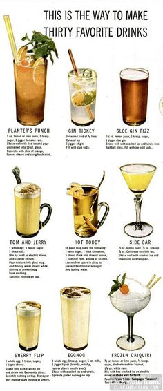 How to make 30 classic cocktails & drinks - Click Americana Classic cocktail recipes for Planter's Punch, Gin Rickey, Sole Gin Fizz, Tom and Jerry, Hot Toddy Bar Drinks, Non Alcoholic Drinks, Cocktail Drinks, Yummy Drinks, Champagne Cocktail, Beverages, Drinks Alcohol, Sloe Gin Drinks, Gin Mixed Drinks
