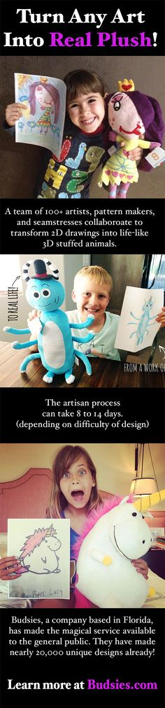 Turn any drawing or work of art—from wacky scribbles to imaginary friends—into a custom stuffed animal. A creative, unique gift any kid will love. Drawing For Kids, Art For Kids, Crafts For Kids, Diy Crafts, Stuff To Do, Cool Stuff, Baby Kind, Kids And Parenting, Parenting Blogs