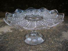 Vintage Pretty EAPG Fancy Glass Cake Stand Diamond File Fan Petal Rim Domed Foot Cake Dome, Fancy, Diamond, Glass, Pretty, Ebay, Vintage, Drinkware, Corning Glass