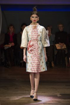 Yumi Katsura Paris Couture Collection SS 2016  This coat has a corsage in gold brocade,with an embroidered plum motif/japanese traditional fabric http://www.yumikatsurafrance.com