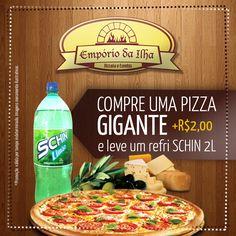Olá Amigos!  Que tal aquela pizza aqui da #EmporiodaIlha hoje heinn?   COMPRE UMA PIZZA GIGANTE E COM + R$2,00 VOCÊ LEVA UM REFRIGERANTE 2L DA SCHIN!  contato@emporiodailhapizzaria.com.br 47 3437-1214  Rua Estrada Fazenda, 1100 - Rio Bonito (Pirabeiraba) - Joinville - SC *Promoção válida por tempo indeterminado. Imagens meramente Ilustrativas.