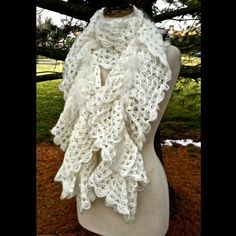 """Selling this """"SCARF ivory lace ruffle knit elastic feathers"""" in my Poshmark closet! My username is: richbororiches. #shopmycloset #poshmark #fashion #shopping #style #forsale #Boutique #Accessories"""