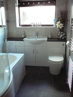 Irene from Lowestoft uses our intelligent storage solution furniture that combines basin, toilet and storage into one to save loads of floor space in her small bathroom. Small Space Bathroom, Family Bathroom, Bathroom Design Small, Modern Bathroom, Bathroom Designs, Small Bathrooms, Space Saving Bathroom, New Bathroom Ideas, Budget Bathroom