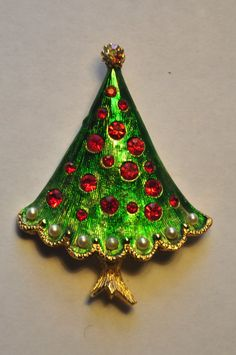 Vintage Christmas Tree Brooch by MyChristmasBrooches on Etsy
