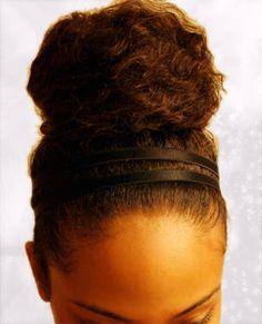 natural bun  with double headband