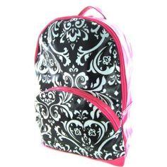 Damask Print Full Size Laminated Backpack Gym School Travel Bag Large Hot Pink Trim Black White