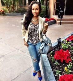 Leopard-print, ripped jeans and blazer Fashion Killa, Girl Fashion, Fashion Outfits, Womens Fashion, Dope Outfits, Fall Outfits, Casual Outfits, Ootd, Grown Women