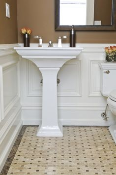 Inspired kohler memoirs in Bathroom Traditional with Wainscoting Bathroom next to Picture Frame Molding alongside Wainscot Tile and Wainscot In Bathroom
