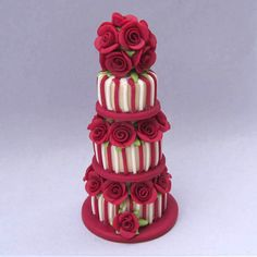 Deep red roses and stripes miniature wedding cake by Blue Kitty Miniatures, via Flickr