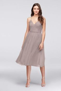Chantilly Lace and Tulle Short Bridesmaid Dress F19704