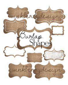 Instant Download  Burlap Digital Shapes 10 by WinkberryDesign, $4.00