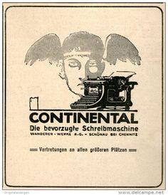 Original-Werbung/Anzeige 1914 - CONTINENTAL SCHREIBMASCHINE -  ca. 90 x 100 mm