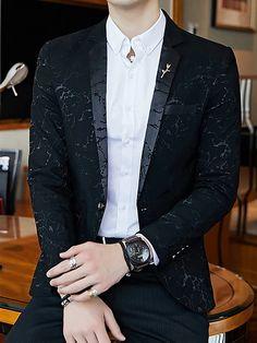 Men's V Neck Blazer Regular Floral Party Work Spring Long Sleeve Black / Red / Royal Blue M / L / XL 2020 - Rs. 4157 Black Tuxedo Suit, Blazer Outfits Men, Man Party, Blazers For Men, Mens Suits, Royal Blue, V Neck, Spring, Long Sleeve