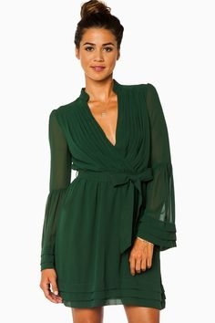 ShopSosie Style : Rorey Wrap Dress in Hunter Green