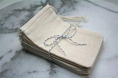 Muslin favor bags, 3x5. Set of 25. Unprinted natural cotton drawstring bags. DIY wedding favor bags.. $10.00, via Etsy.