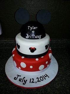Mickey & Minnie Engagement Cake www.GGCupcake.com