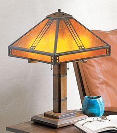 Arroyo Craftsman Pocola Table Lamp Size: H x W, Color: Satin Black, Shade Color: Amber Mica Craftsman Table Lamps, Craftsman Style Table, Craftsman Lighting, Craftsman Furniture, Tall Lamps, Suspension Design, Stained Glass Lamps, Light Crafts, Bedroom Lamps