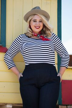 Pinup Couture Boatneck Top in Black & White Stripe | Retro Style Boatneck Top | Pinup Girl Clothing