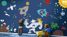 Outer Space Monkeys Wall Playroom Decals for kids rooms. Design your childs room, daycare center, classroom or library with one of these pieces &