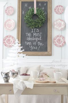 Christmas Decoration with Chalkboard and Red & White Plates