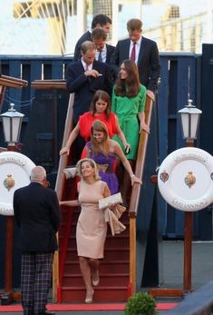Prince Edward's wife Sophie, the Countess of Wessex; Princesses Beatrice & Eugenie (Prince Andrew's daughters); Prince William & Kate, Duke & Duchess of Cambridge and Dave Clark (Princess Beatrice's boyfriend).