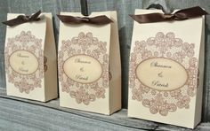 Personalized Vintage Lace Favor Bags - Rustic Country