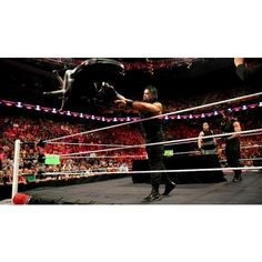 The Shield vs. Evolution WWE Payback contract signing photos ❤ liked on Polyvore featuring home, home decor and wwe