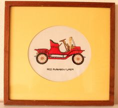 Red Runabout 1909 / Classic Antique Vintage Car Framed by POTUKS