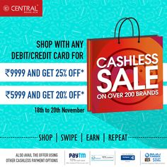 Head to Central, at @gardensgalleria and choose from over 200 brands, with many cashless payment options. #central #sale #gocashless