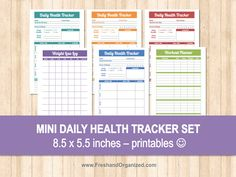 Mini Daily Health Tracker Set - 8.5 x 5.5 size, Organizing Printables, Health Tracker, Workout Planner, Weight Loss Chart, INSTANT DOWNLOAD