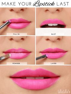Use this powder trick to make your lipstick last forever (or at least until you want to take it off at night). (Makeup, make-up) Beauty Blogs, Beauty Tutorials, Beauty Secrets, Beauty Hacks, Makeup Tutorials, Makeup Ideas, Beauty Ideas, Beauty Products, Hair Tutorials