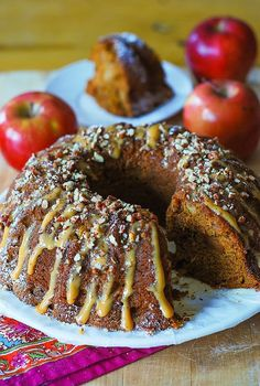 Apple pumpkin bundt cake. Heat oven 350. In med bowl beat eggs, white & brown sugar with mixer until creamy, 4-5 mins. Add oil, vanilla, beat 1-2 mins more. Add pumpkin, beat for 1 min to mix. In a med bowl, mix flour, baking soda, baking powder, salt, cinnamon. Add dry to wet ingredients, mix until combined. Do not over mix. Fold in apples.Spray the bundt pan with baking spray. Pour batter into bundt pan, bake 350 deg for 50-60 mins/toothpick comes out clean.Cool 40 mins invert onto platter