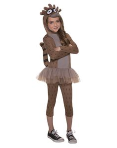 Regular Show Rigby Child Costume exclusively at Spirit Halloween - If your parents tell you to be responsible on Halloween, just tell them it's not in the character description when you wear this officially licensed Regular Show Rigby Child Costume. Brown, long sleeved character tutu dress has attached character hood and tail and comes with matching leggings. Get yours for $34.99.