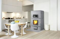 - Wood heating stove / soapstone / contemporary / with oven by TULIKIVI Soapstone Wood Stove, Built In Ovens, Pole Barn Homes, Wood Fired Oven, Kitchen Interior, Foyer, Home Appliances, Contemporary, Furniture