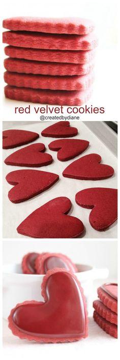 Red Velvet Cookies with Royal Icing : red-velvet-cookie-recipe Fancy Cookies, Valentine Cookies, Cut Out Cookies, Royal Icing Cookies, Frosted Cookies, Valentines Sweets, Summer Cookies, Heart Cookies, Easter Cookies