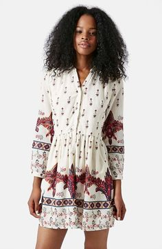 Free shipping and returns on Topshop Moroccan Border Print Shirtdress at Nordstrom.com. A distinctive pattern and loose three-quarter sleeves enhance a billowing shirtdress cinched at the waist for a more defined fit.