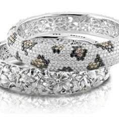 18kt Multi Coloured Diamond Leopard Bangle