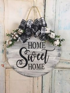 Home Sweet Home Fall Door Hanger Farmhouse Decor Round Door Hanger Fall Wreath Home Sweet Home Door Hanger Christmas Gift Farmhouse Rustic Wood Signs Christmas Decor Door Fall Farmhouse Gift Hanger Home Sweet wreath Wood Crafts, Diy Crafts, Fall Crafts, Rustic Crafts, Fabric Crafts, Christmas Crafts, Christmas Decorations, Etsy Christmas, Christmas Nativity
