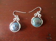 Handmade Silver Wire Wrapped Hammered Blue Cultured by BeadLove14