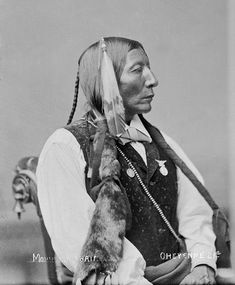 An old photograph of the Native American known as Big Horse - Southern Cheyenne