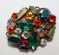 Shoply.com -Antique / Old Vintage Czech Style, Very Colorful Rhinestone Brooch. Amazing to look at.. Only C$140.00