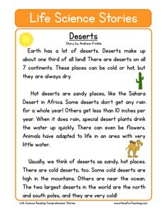 How to teach Reading Comprehension This Deserts Life Science Reading Comprehension Worksheet will help your students build their reading comprehension skills while reading about the desert. First Grade Reading Comprehension, Reading Comprehension Worksheets, Reading Fluency, Reading Passages, Reading Skills, English Writing Skills, English Reading, Have Fun Teaching, Teaching Reading