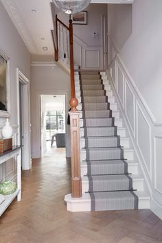 carpet runners for stairs Staircase Traditional with banister entrance hall hallway herringbone pattern stair - Carpets Mag White Staircase, Carpet Staircase, Staircase Runner, Staircase Design, Staircase Ideas, Hall Carpet, Staircase With Landing, Carpet Runners For Stairs, Painted Staircases