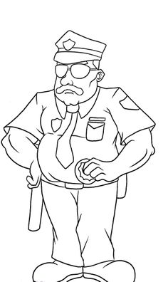 Pictures Policeman Wearing Glasses Coloring Pages