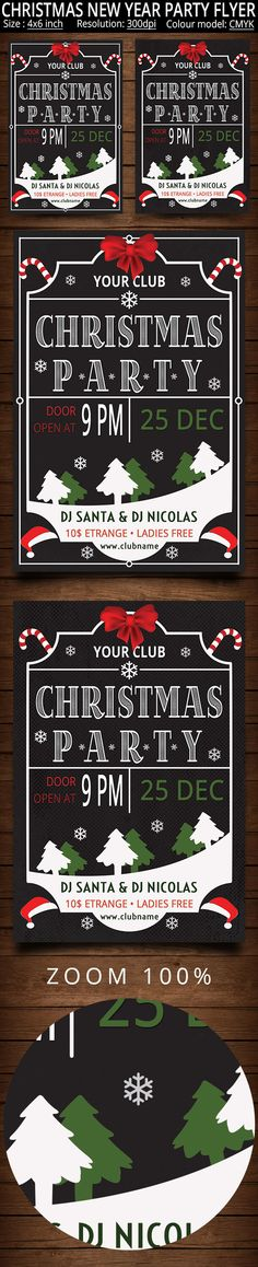 Christmas New Year Party Flyer by oloreon on Creative Market