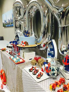 Awesome nautical baby shower party! See more party planning ideas at CatchMyParty.com!