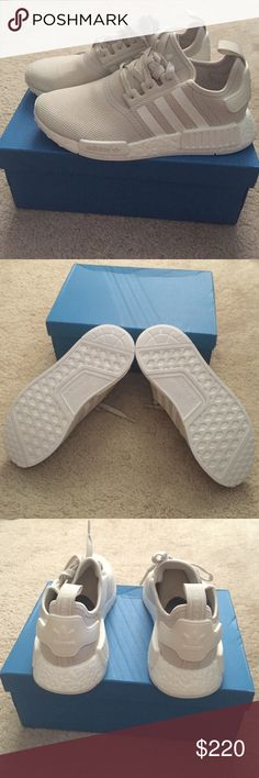 NMD_R1 Talc/cream Authentic. Brand new. Nice beige color with cream stripes. Comes with all original packaging. No trades. Firm price. Adidas Shoes Sneakers