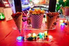 Chicken and waffle cones at Christmas Club Chicago Christmas bar in Wrigleyville.
