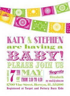 baby shower fiesta theme | Papel Picado Fiesta Baby Shower Invitation | invitingprintables ...